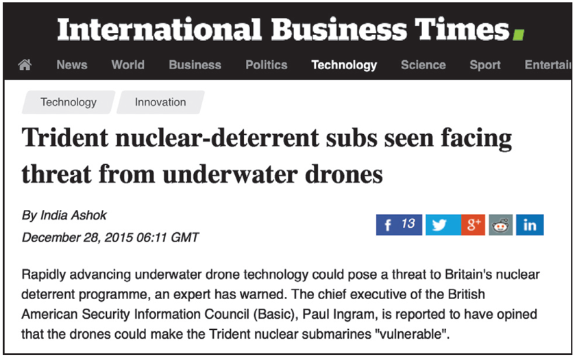trident subs threatened by underwater drones