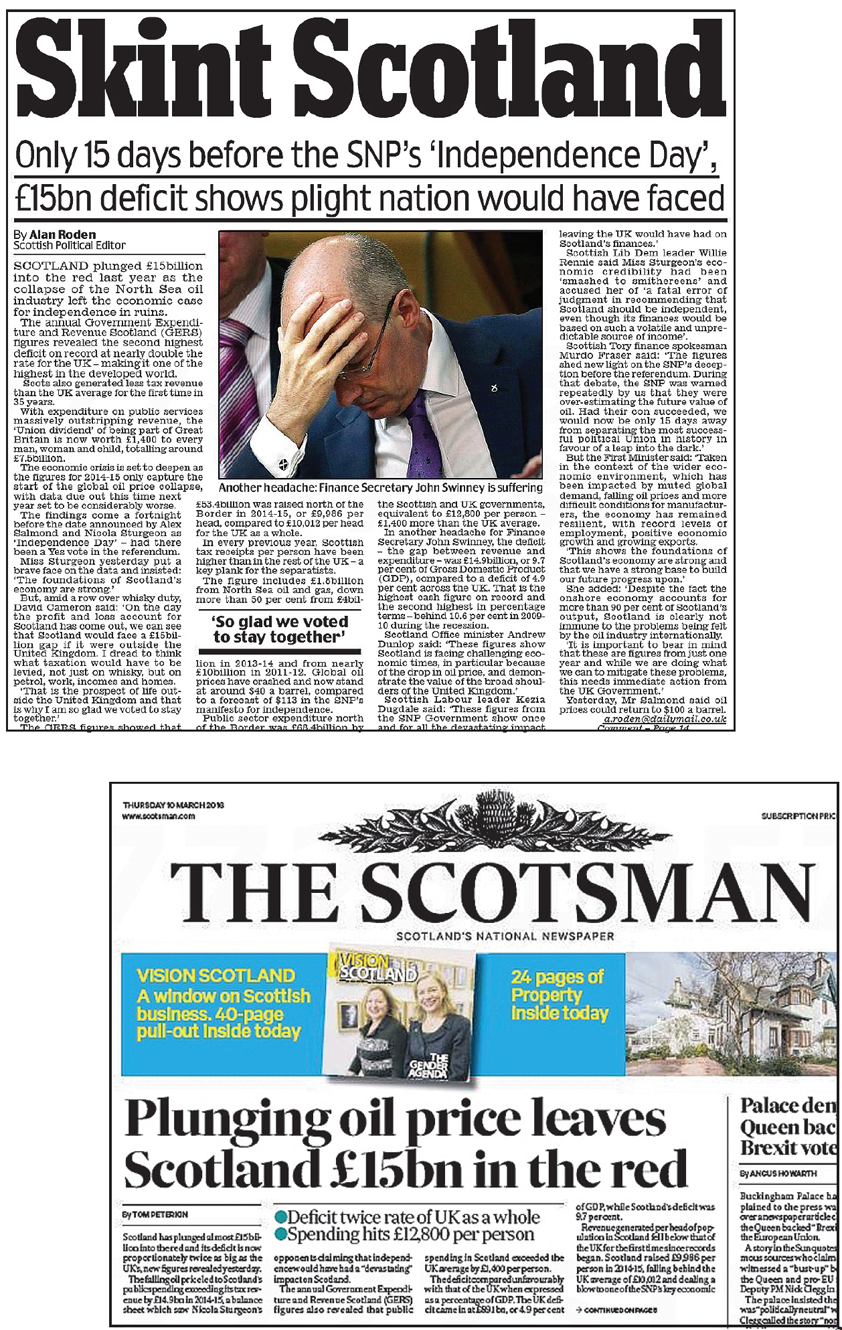 scotsman plunging oil price