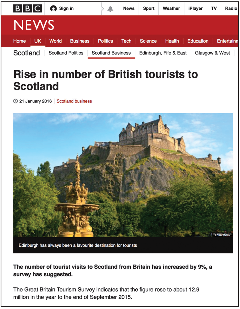 rise in british tourists to scotland